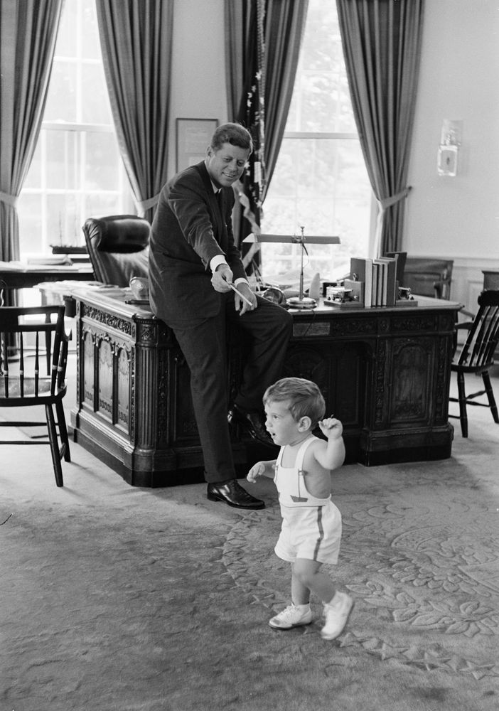jfk in oval office. President John F. Kennedy And Kennedy, Jr., In Oval Office Jfk