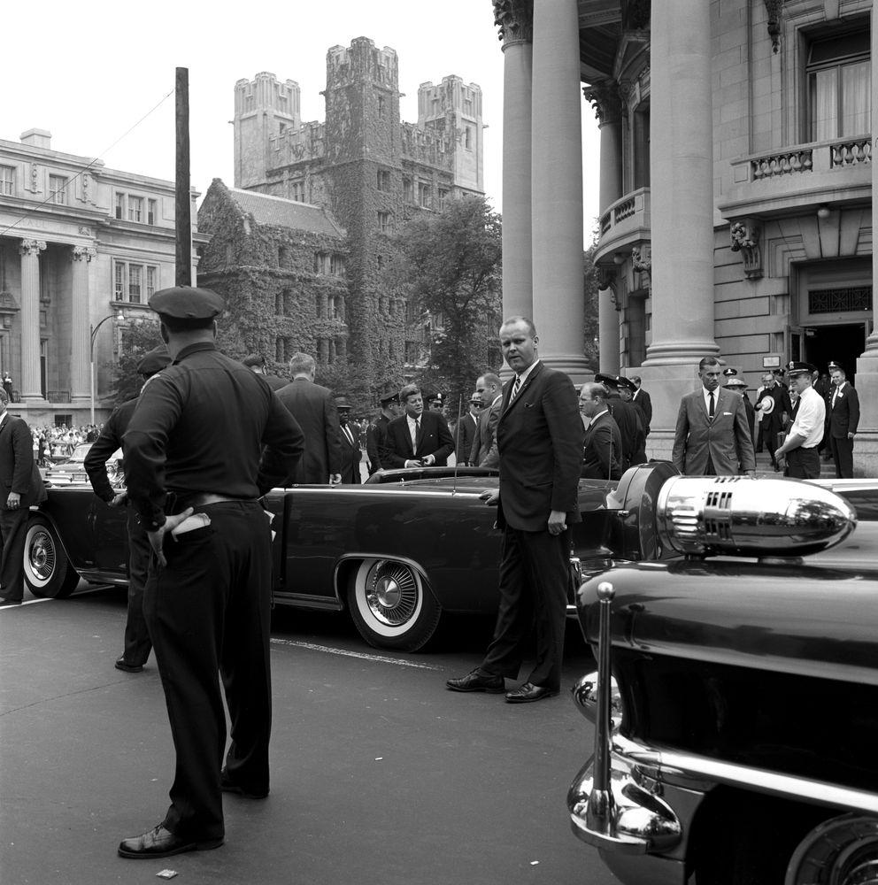 ST-268-22-62. President John F. Kennedy Departs Yale