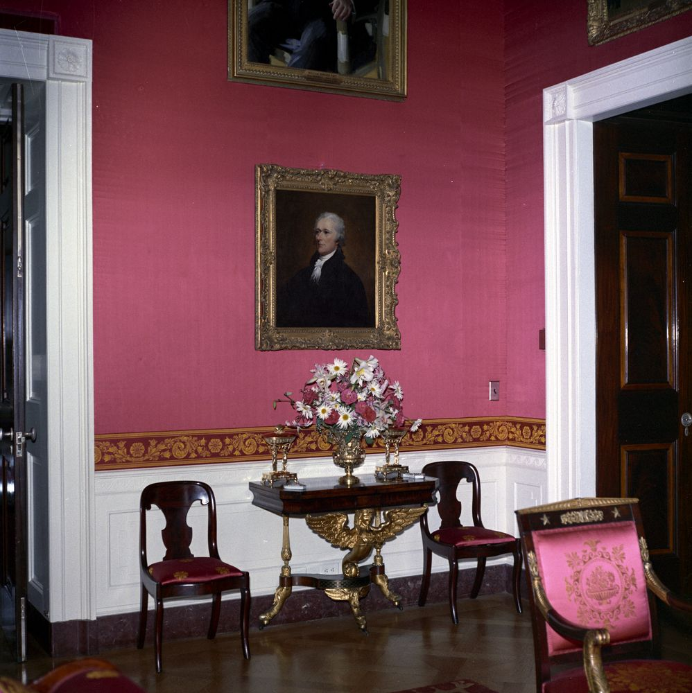 Red Room: KN-C22503. Painting In Red Room Of White House