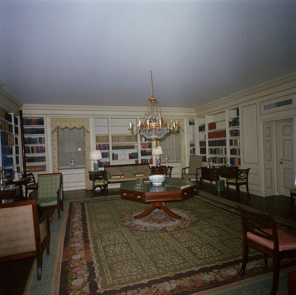 House Furnishings: White House Rooms And Furnishings: Library; Painting In