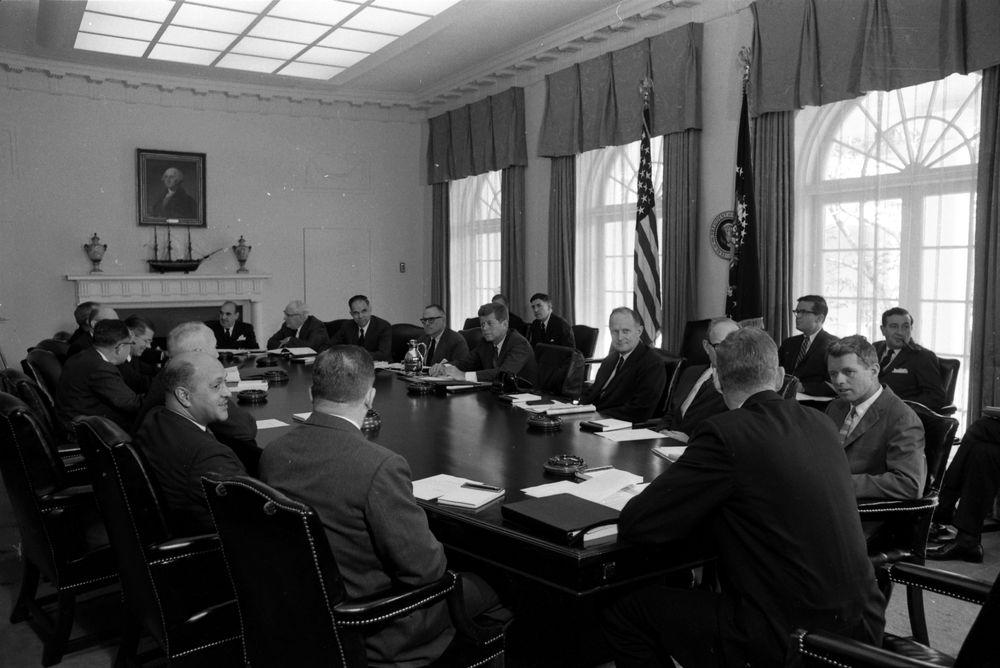 KN-24645. President John F. Kennedy Holds Cabinet Meeting ...