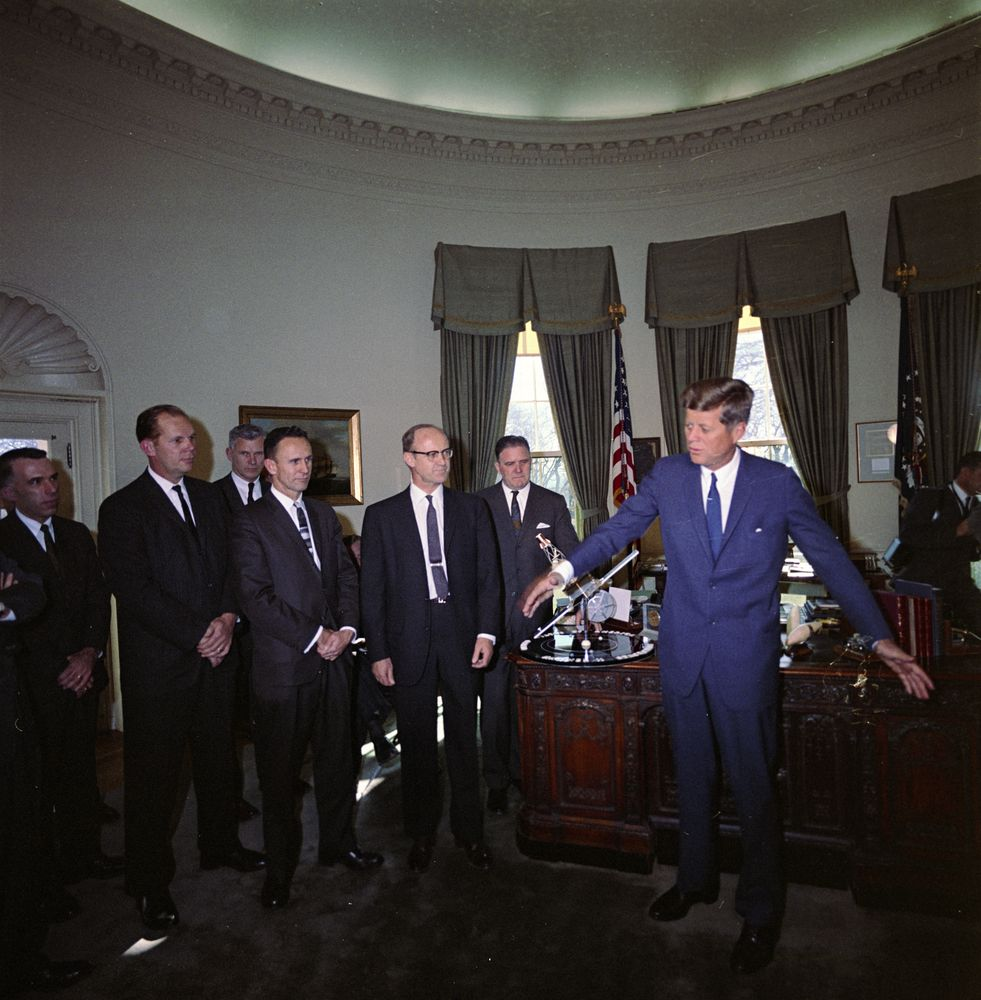 ST-C14-5-63. President John F. Kennedy with NASA Personnel ...