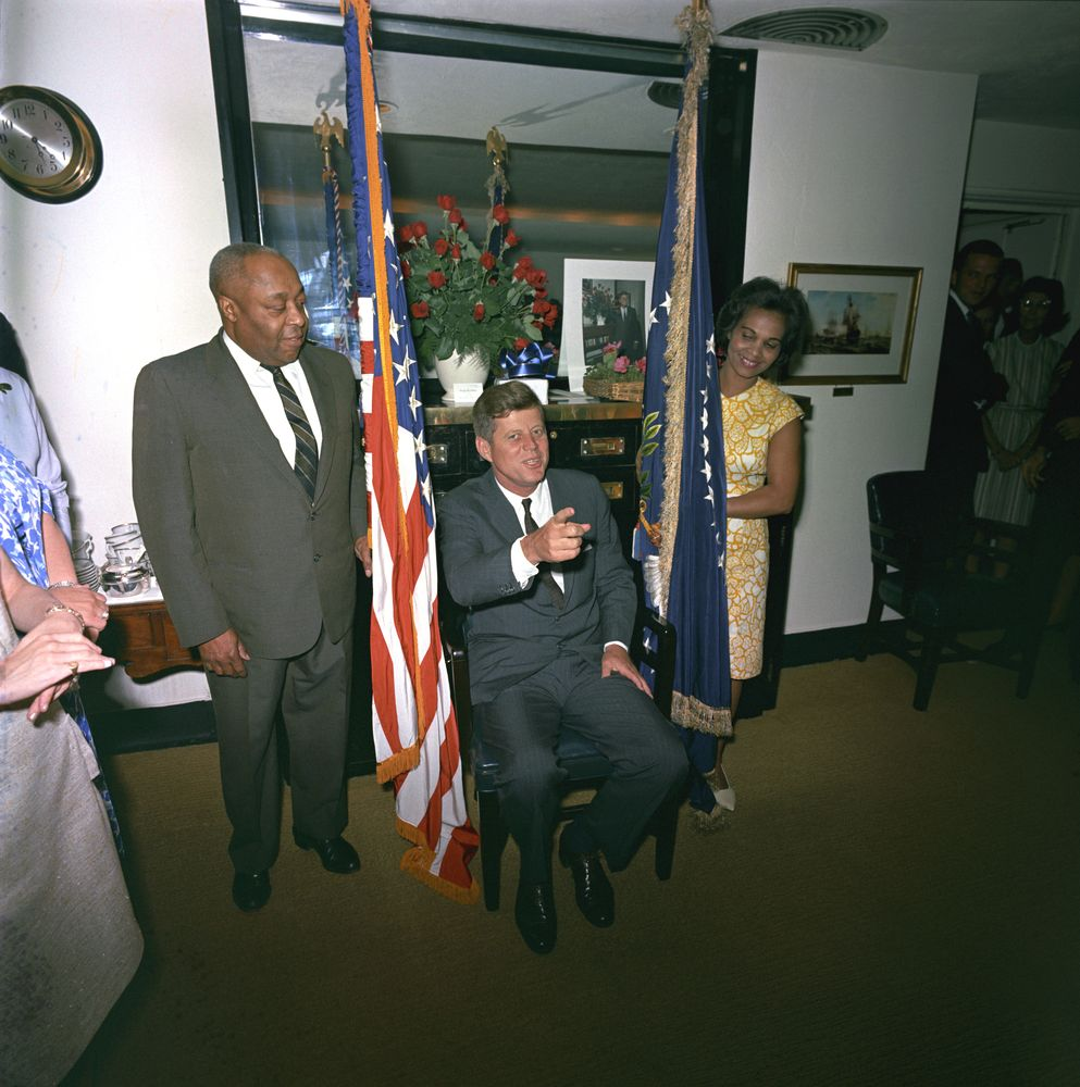 Sotu >> Surprise birthday party for President Kennedy, given by the White House staff, 5:45PM - John F ...
