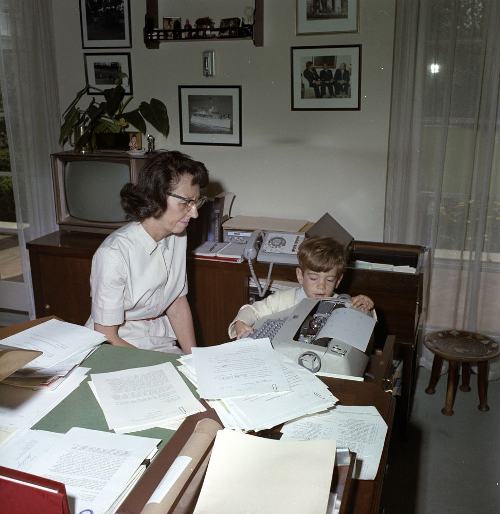 John F. Kennedy, Jr., with President Kennedy, Evelyn