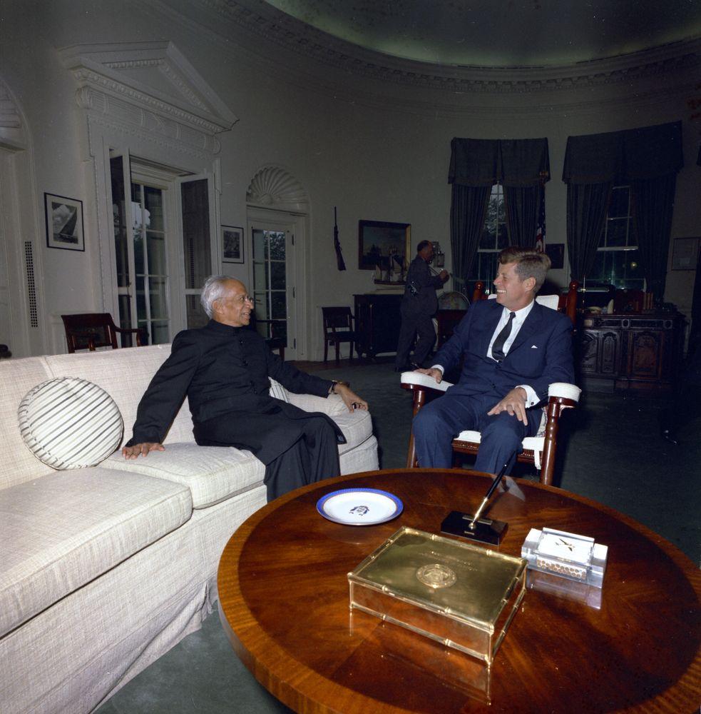jfk in oval office. President John F. Kennedy With Of India, Dr. Sarvepalli Radhakrishnan Jfk In Oval Office F