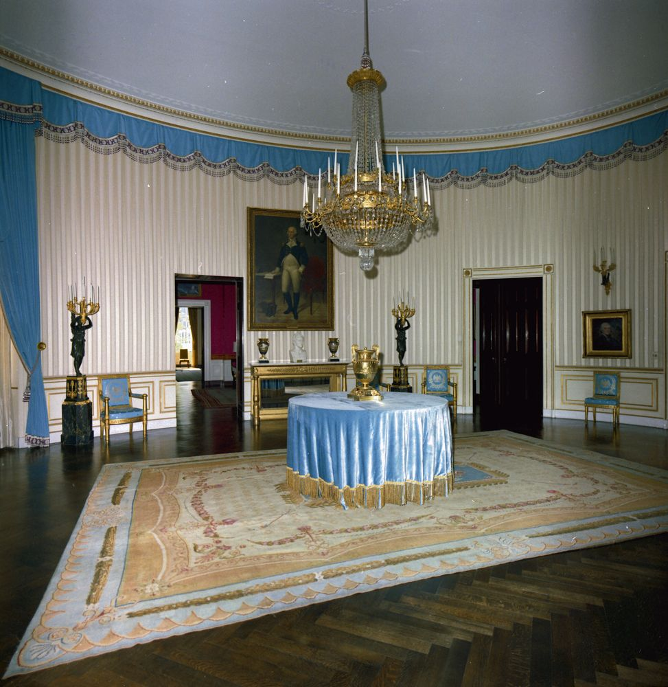 White house rooms green blue rooms john f kennedy for The blue room