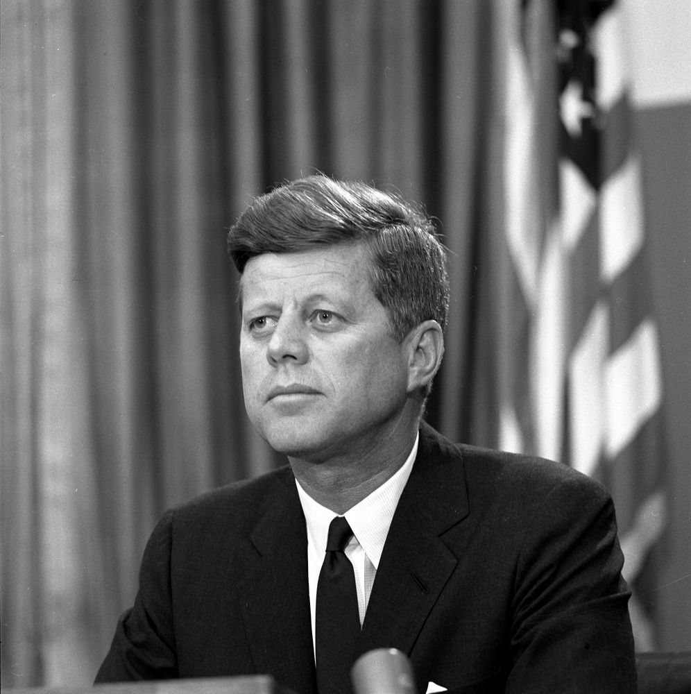 ST-309-4-63. President John F. Kennedy Delivers Address Regarding ...