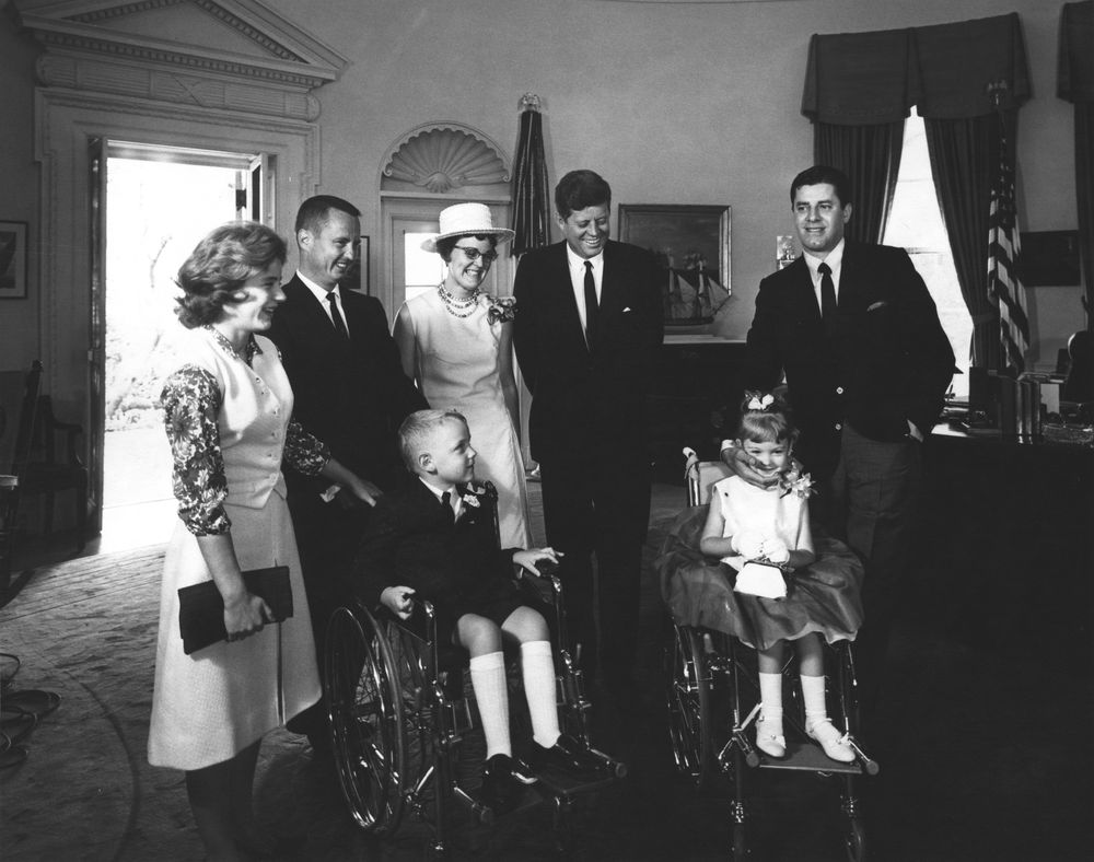 Ar7990 B President John F Kennedy With National Poster Children For The Muscular Dystrophy Ociations Of America Inc