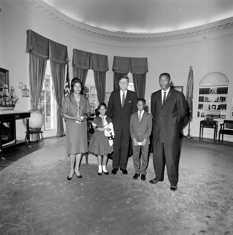 Visit of Myrlie Evers, widow of Medgar Evers, and family - John F ...