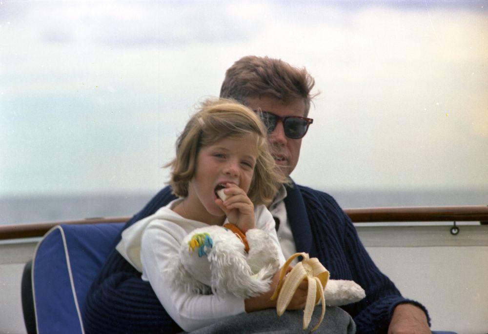 ST-C281-31-63. President John F. Kennedy and Caroline Kennedy Aboard ...