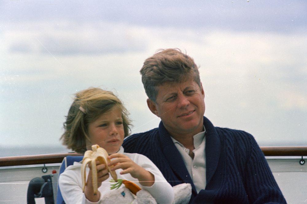 ST-C281-32-63. President John F. Kennedy and Caroline Kennedy Aboard ...