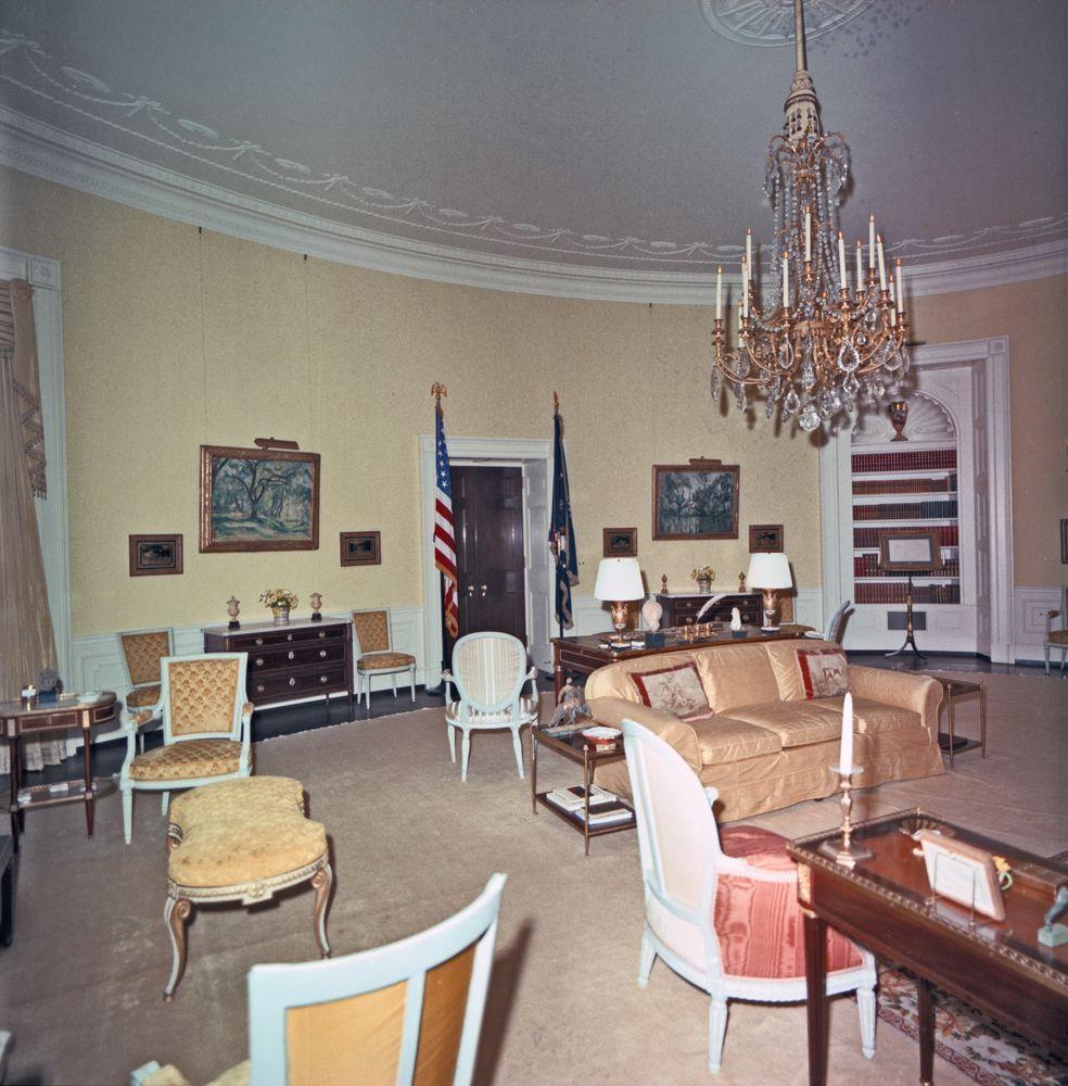Kn C29720 Yellow Oval Room White House John F Kennedy