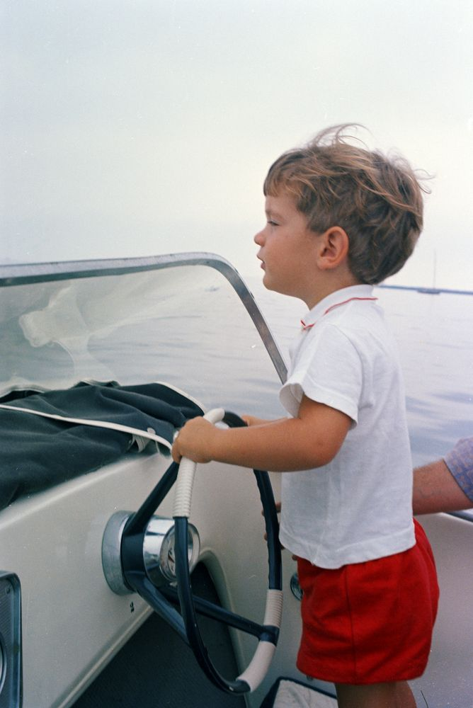 John F Kennedy Jr Rides In Sdboat Hyannis Port