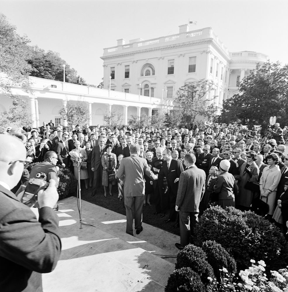 Columbus Day Ceremonies President Kennedy Addresses A