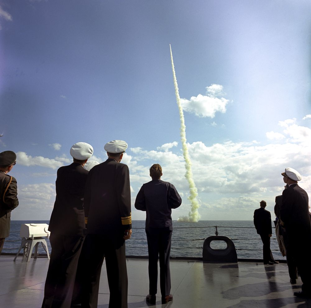 kn c30560 president john f kennedy views polaris missile launch president john f kennedy views polaris missile launch from uss observation island