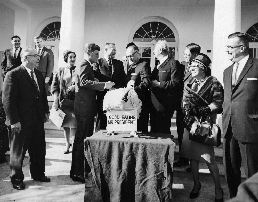presentation of a thanksgiving turkey to president kennedy