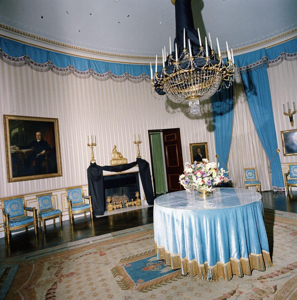 ST-C421-42-63. White House Blue Room Draped In Black Crepe