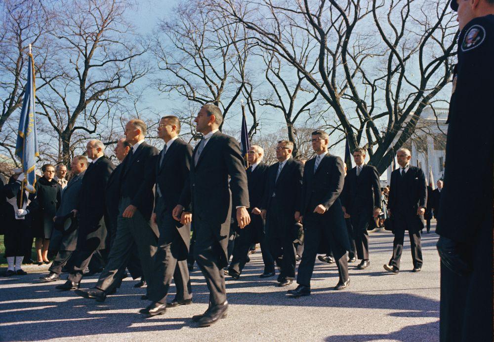 KN-C30753. Cabinet Members Walk in President John F. Kennedy's ...