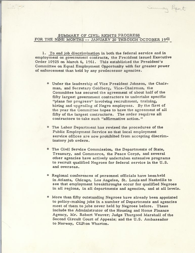 Summary Report During First Nine Months Of Kennedy Administration