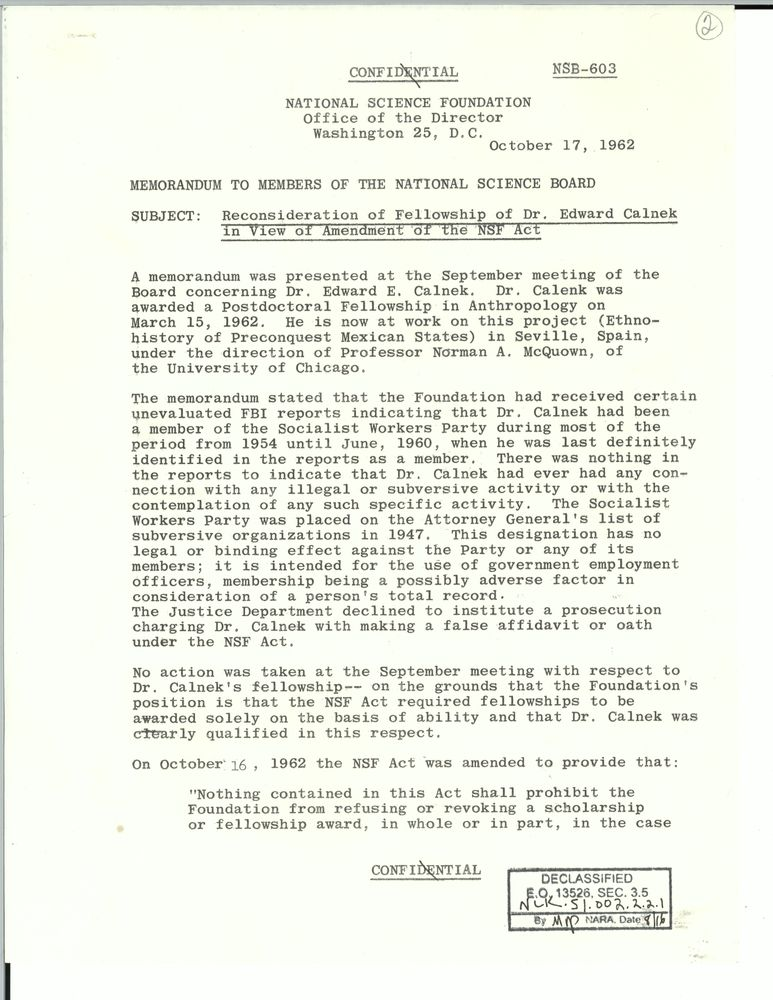 National Science Foundation (loyalty case), June 1961-21