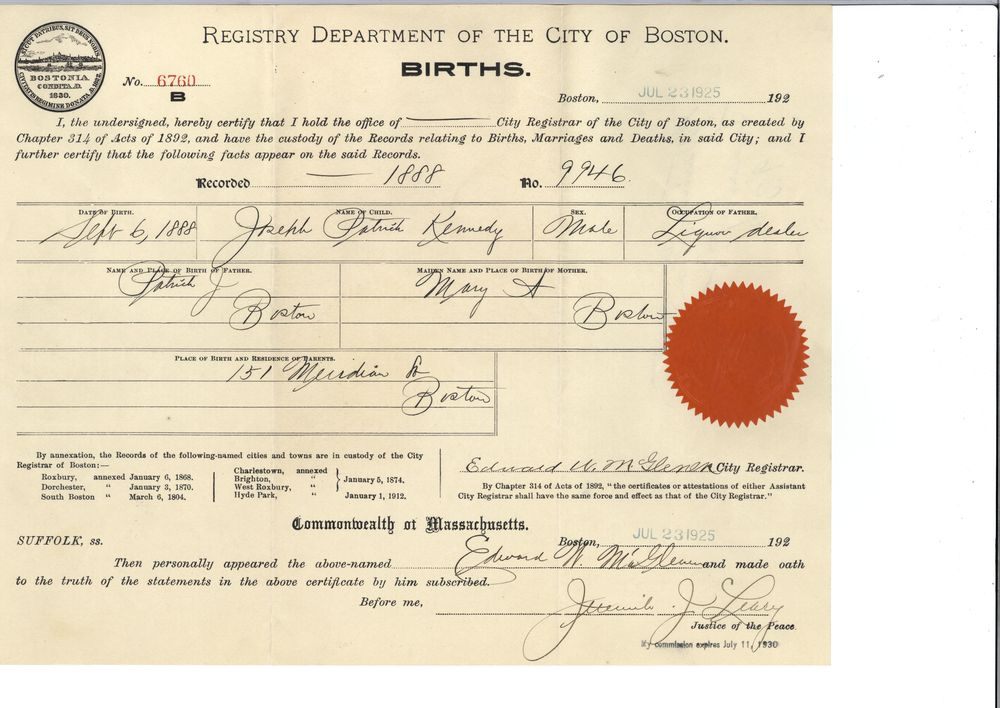 Birth Certificate Jfk Library
