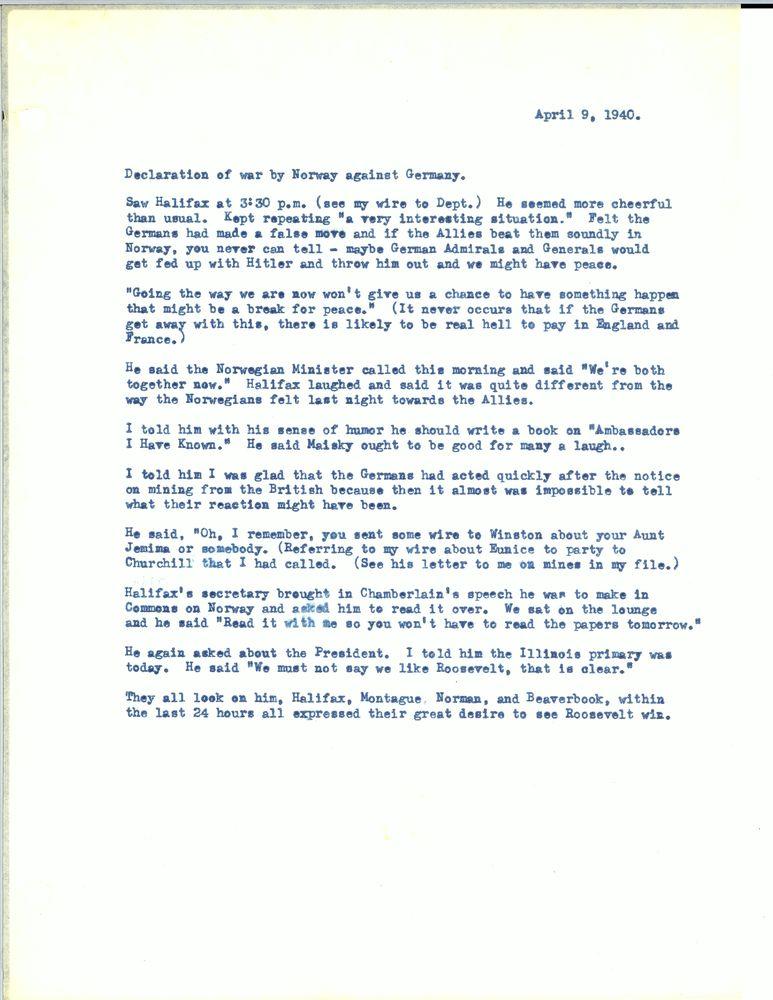 Diary, 1940: April-May | JFK Library
