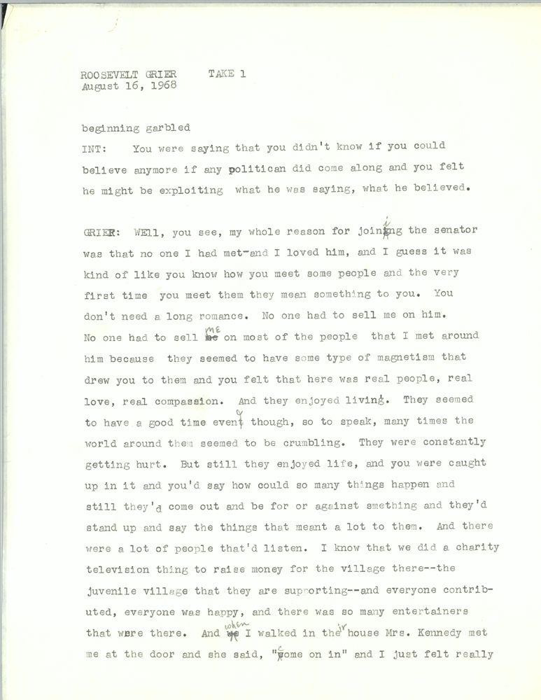 Grier, Roosevelt | JFK Library