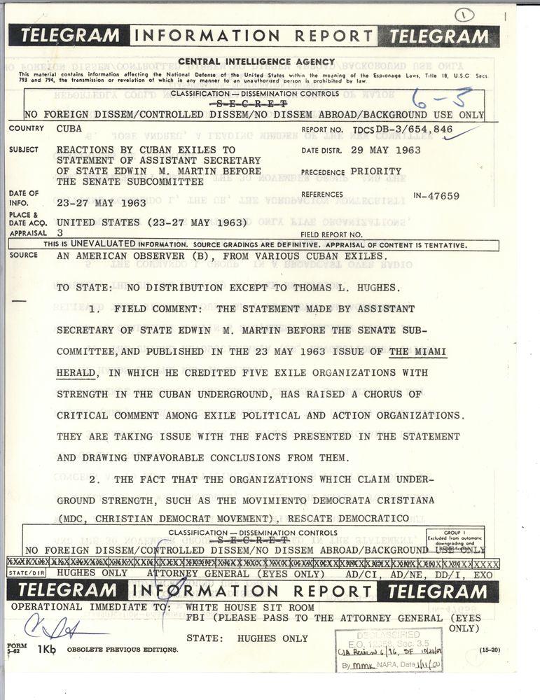 6 3 Cuba Cuban Crisis 1962 Cia 2 Of 3 Folders Jfk Library