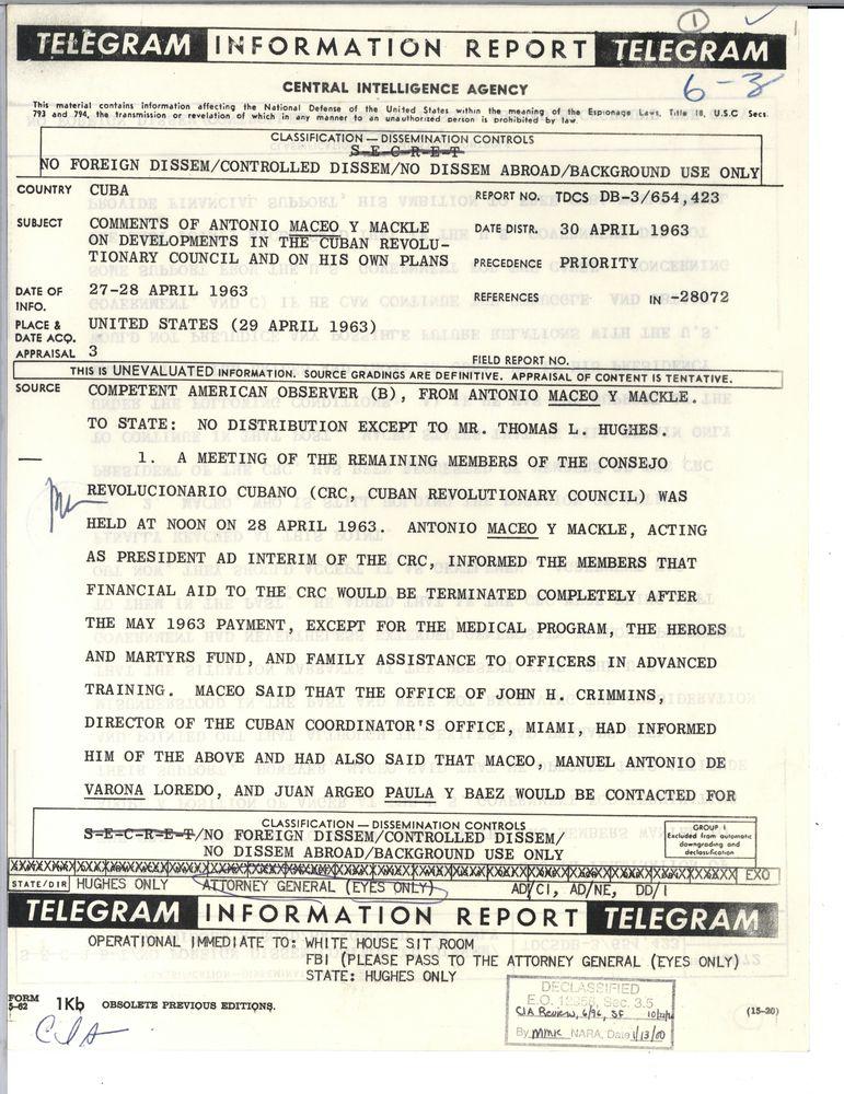 6 3 Cuba Cuban Crisis 1962 Cia 3 Of 3 Folders Jfk Library