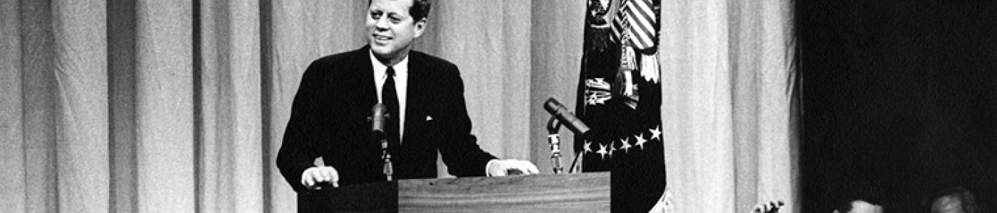 JFKWHP-AR6309-C (crop): President Kennedy Speaks at Press Conference, 1 February 1961