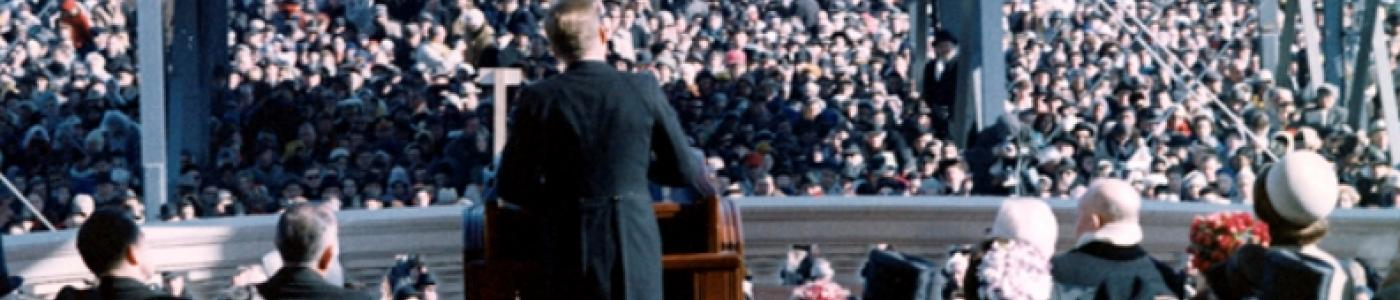 President John F. Kennedy delivers his Inaugural Address during ceremonies at the Capitol, 20 January 1961.