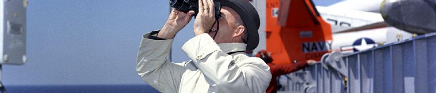 JFKWHP-KN-C21034 (crop): Presidential Assistant Dave Powers Aboard the USS Enterprise, 14 April 1962