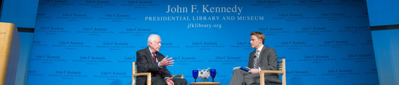 President Jimmy Carter speaks at a JFK Forum