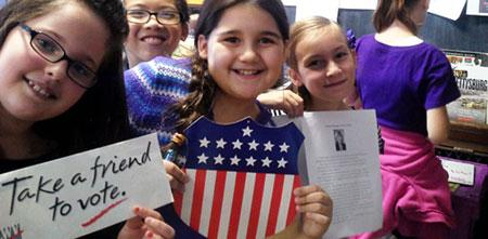 Fourth graders from the Betsey B. Winslow School in New Bedford, MA participated in the 2014 Mock Election.