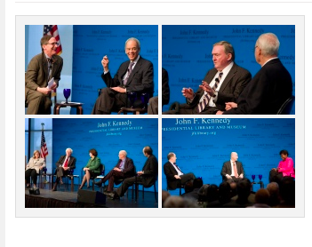Tom Oliphant and Roger Wilkins; Roger Wilkins, Richard Donahue, and Harris Wofford; Ellen Fitzpatrick, Richard Reeves, Sally Bedell Smith, Thurston Clarke, and Ted Widmer; Jonathan Alter, Matt Bai, and Gwen Ifill