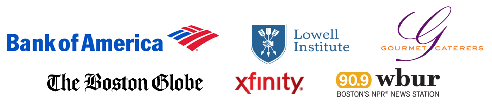 Image of logos for Bank of America, Lowell Institute, Gourmet Catering, The Boston Globe, Xfinity, and WBUR.