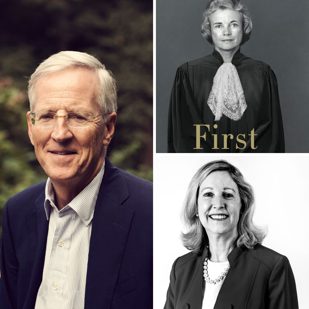"Images of Evan Thomas, book cover for ""First, Sandra Day O'Connor,"" and Barbara Perry"