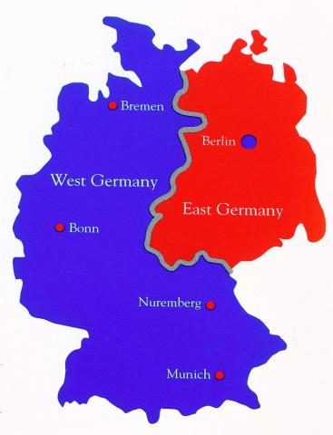 map of East and West Germany
