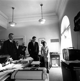 Watching flight of Astronaut Shepard on television. Attorney General Kennedy, McGeorge Bundy, Vice President Johnson, Arthur Schlesinger, Admiral Arleigh Burke, President Kennedy, Mrs. Kennedy. White House, Office of the President's Secretary.