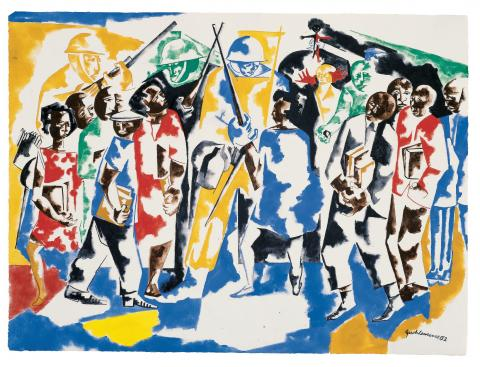 Jacob Lawrence, Soldiers and Students, 1962. Hood Museum of Art, Dartmouth College, Hanover, New Hampshire; purchased through the William B. Jaffe and Evelyn A. Jaffe Hall Fund and the Claire and Richard P. Morse 1953 Fund