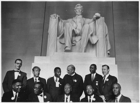 Leaders of the March on Washington for Jobs and Freedom at the Lincoln Memorial