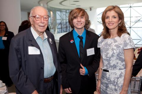 Caroline Kennedy, winner Michael Reed, and former U.S. Congressman Ken Hechler, the subject of the 2010 winning essay. (Photo by Tom Fitzsimmons)