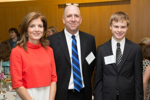Caroline Kennedy, nominating teacher Timothy Dougherty, and Patrick Reilly, first-place winner of the 2012 Profile in Courage Essay Contest.