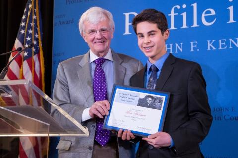 Ben Wolman, first-place winner of the 2014 Profile in Courage Essay Contest.
