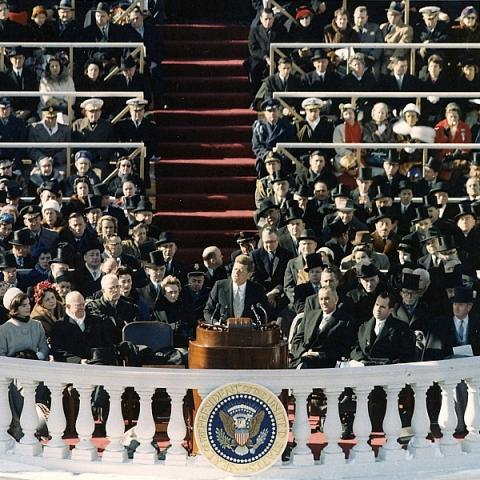 JFK giving inaugural address