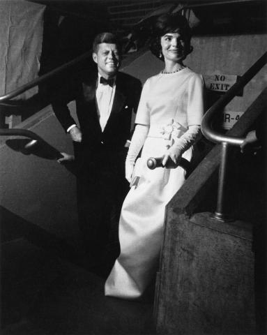 President-elect and Mrs. Kennedy arrive at the Inaugural Gala, January 19, 1961