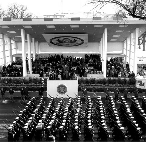 AR6280-1D Inaugural Parade for President Kennedy - Military units pass reviewing stand, 20 January 1961.