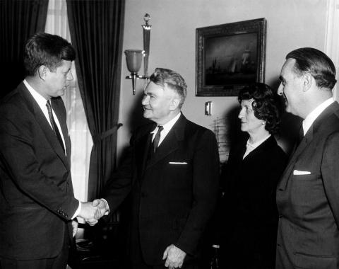 JFKWHP-AR6380-B: President Kennedy Greets Anthony A. Oeding, Fifteen Millionth Person Receiving Social Security Benefits, 27 February 1961