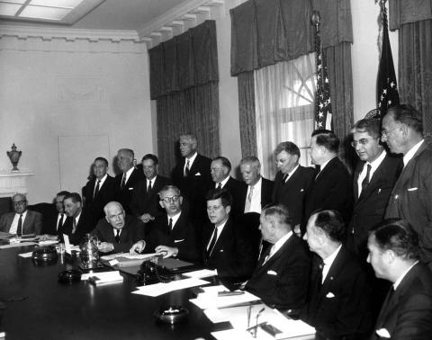 JFKWHP-AR6441-C: Meeting with President's Advisory Committee on Labor Management, 21 March 1961