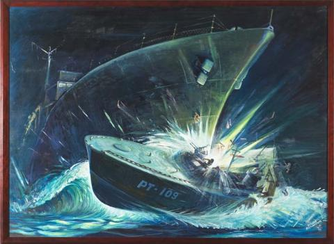 """Heavenly Mist"" painting of PT109 and the Amagiri"